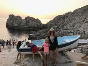 Joy with kids on Italian coast
